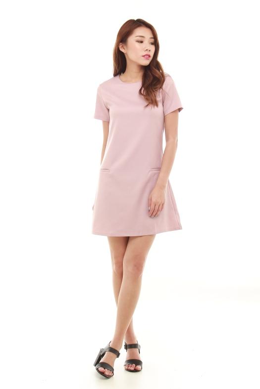 Short Sleeved Blush Pink Dress