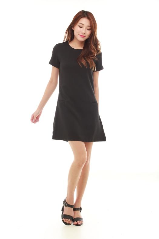 Short Sleeved Midnight Black Dress